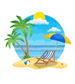 Guarda-chuva e espreguiçadeira na praia e uma palmeira.