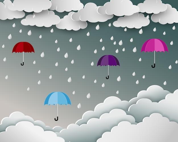 Guarda-chuva flutuando sobre a nuvem