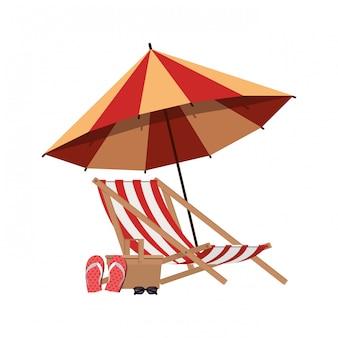 Guarda-chuva listrada com cadeira de praia em branco