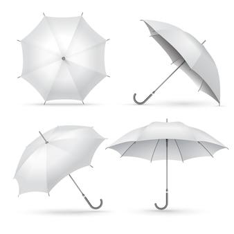 Guarda-chuva realista. chuva branca ou guarda-sóis abertos.