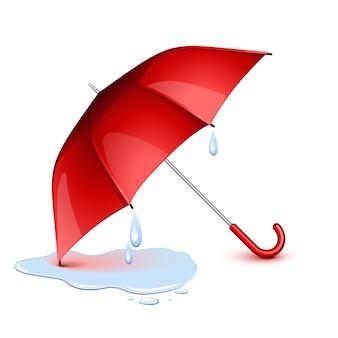 Guarda-chuva vermelho molhado depois da chuva