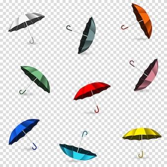 Guarda-chuvas coloridas em transparente