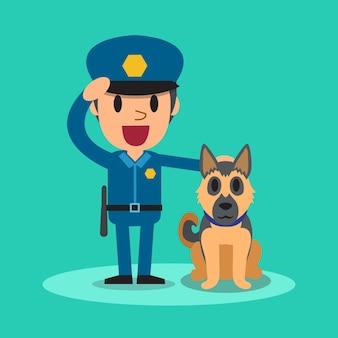Guarda de segurança dos desenhos animados policial com cão de guarda
