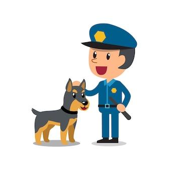 Guarda de segurança policial com cão de guarda da polícia