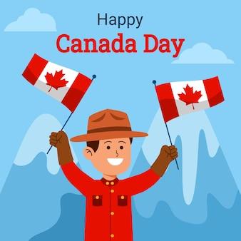 Guarda florestal canadense agitando bandeira para comemorar o dia do canadá