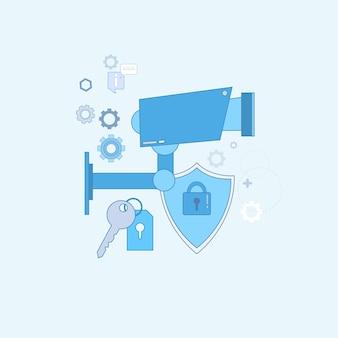 Guarda home segurança proteção proteção web banner vector illustration