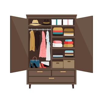 Guarda-roupa aberto em branco