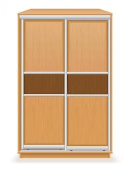 Guarda-roupa moderno móveis de madeira com ilustração vetorial de portas de correr