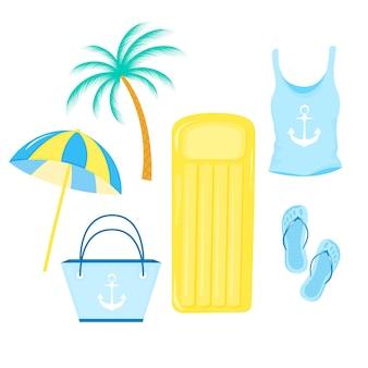 Guarda-sol, colchão insuflável, t-shirt feminina, bolsa, chinelos. itens para férias de verão na praia.