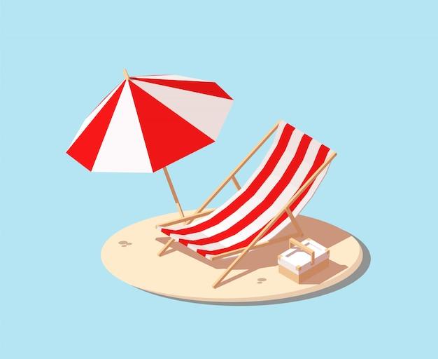 Guarda-sol e cadeira de praia.