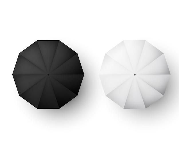 Guarda-sol preto e branco vista de cima