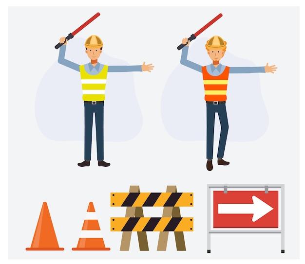 Guardas de segurança masculinos segurando o bastão do semáforo, orientando para mudar o caminho. objeto de tráfego.