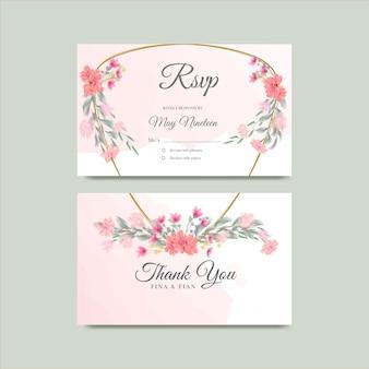 Guarde a data cartão de agradecimento floral em aquarela