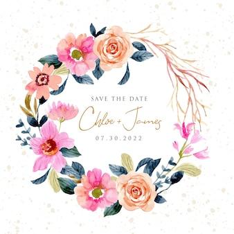 Guarde a data com coroa de flores em aquarela