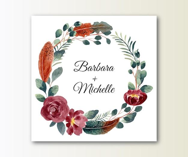 Guarde a data coroa de flores em aquarela com flores e penas