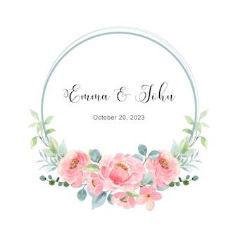 Guarde a data e guirlanda floral rosa com aquarela