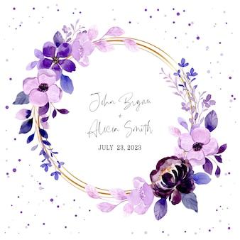 Guarde a data e guirlanda floral roxa com aquarela