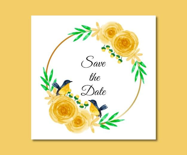 Guarde a data em aquarela de flores amarelas