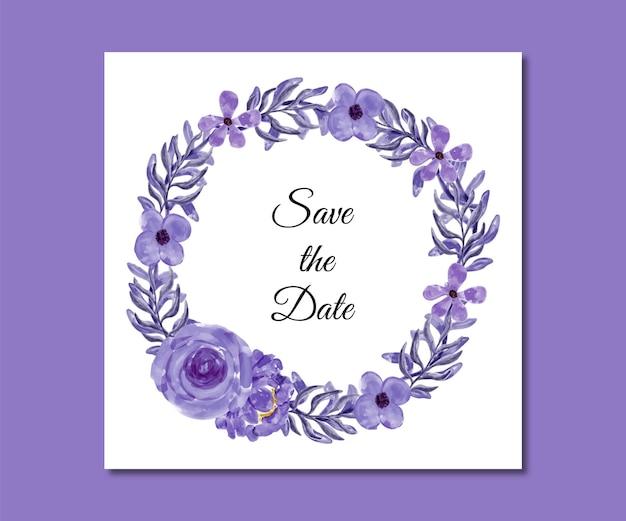 Guarde a data em aquarela de flores roxas