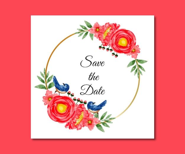 Guarde a data em aquarela de flores vermelhas