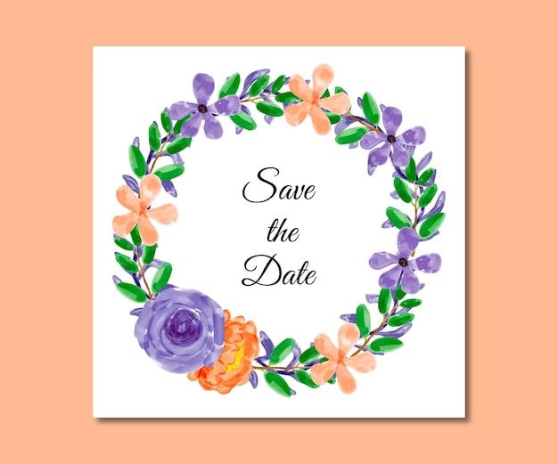 Guarde a data em aquarela e flores laranja roxas
