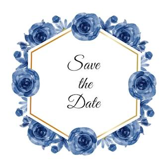 Guarde a data em aquarela flores azuis
