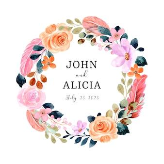 Guarde a data grinalda de flores e penas com aquarela