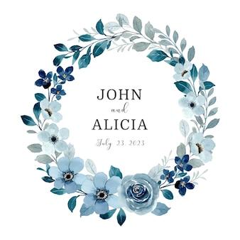 Guarde a data guirlanda floral azul com aquarela