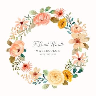 Guarde a data guirlanda floral com aquarela