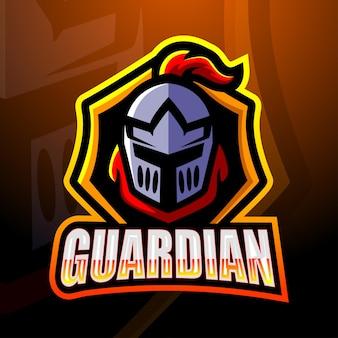 Guardian head mascote esport ilustração
