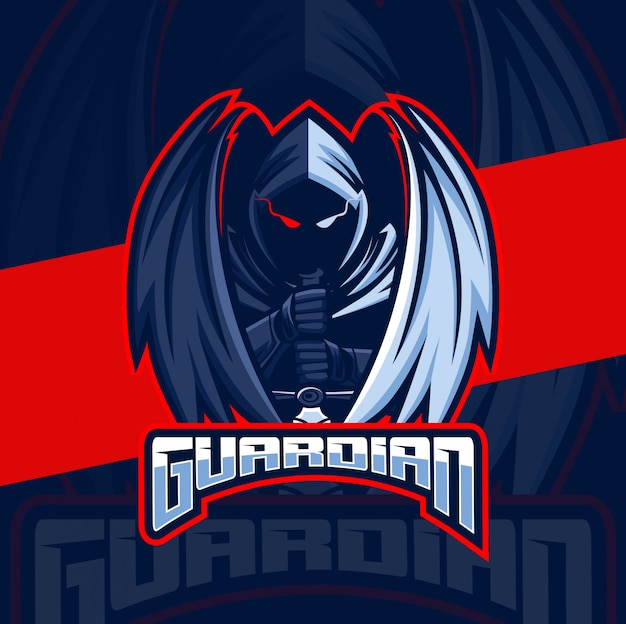 Guardião assassino anjo mascote esport design de logotipo