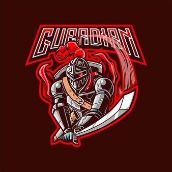 Guardião com logotipo do mascote da espada