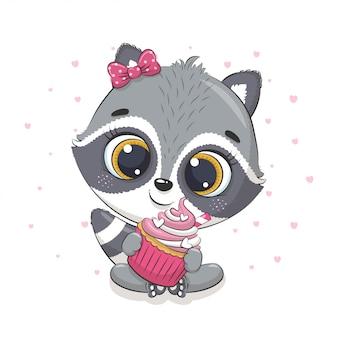 Guaxinim bebê fofo com cupcake. ilustração para chá de bebê, cartão, convite para festa, impressão de t-shirt de roupas da moda.