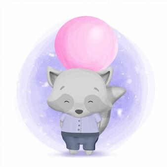 Guaxinim bebê menino, escondendo um balão