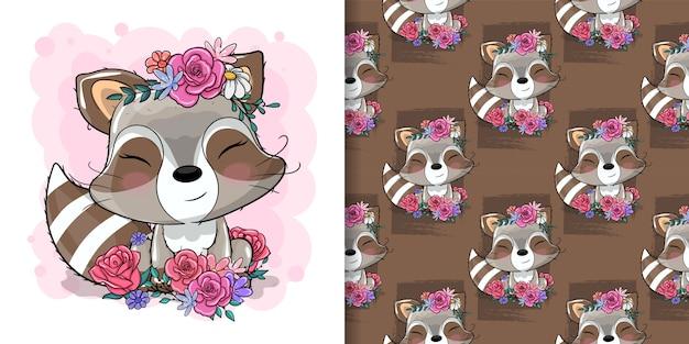 Guaxinim bonito com ilustração de flores para crianças