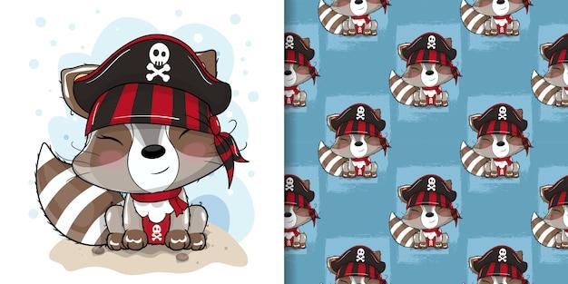 Guaxinim bonito com ilustração personalizada de pirata para crianças