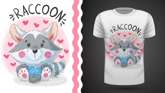 Guaxinim bonito da peluche - ideia para o t-shirt da impressão