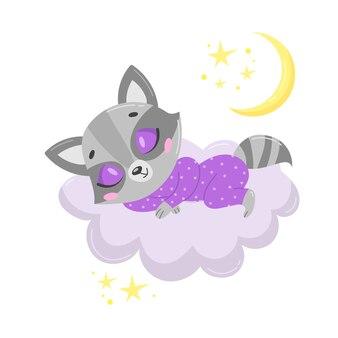 Guaxinim bonito dos desenhos animados dormindo numa nuvem.