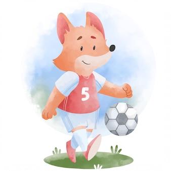 Guaxinim bonito jogando futebol