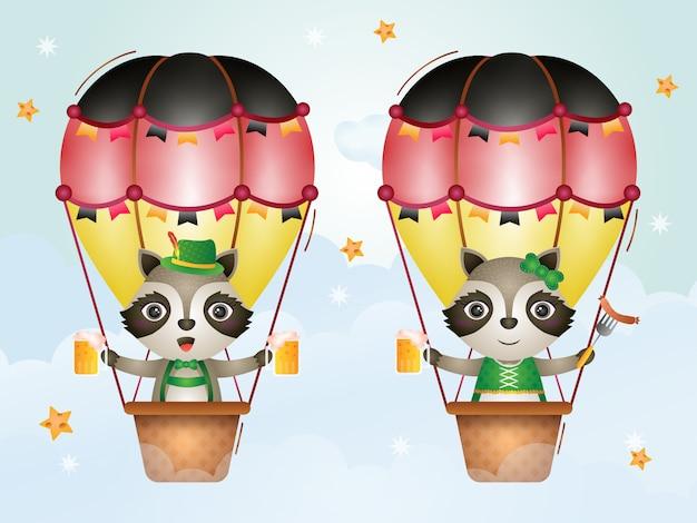 Guaxinim bonito no balão de ar quente com o vestido tradicional da oktoberfest
