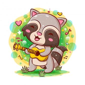Guaxinim bonito tocando guitarra