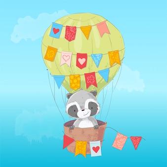 Guaxinim bonito voando em um balão. estilo dos desenhos animados. vetor
