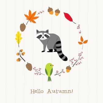Guaxinim com cartão de moldura de outono