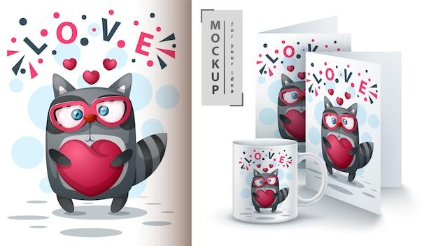 Guaxinim com cartaz de coração e merchandising
