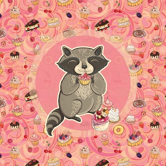 Guaxinim doce com bolo