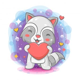 Guaxinim engraçado segurando coração vermelho