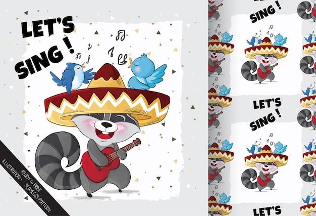 Guaxinim fofo cantando feliz com ilustração de pássaros.