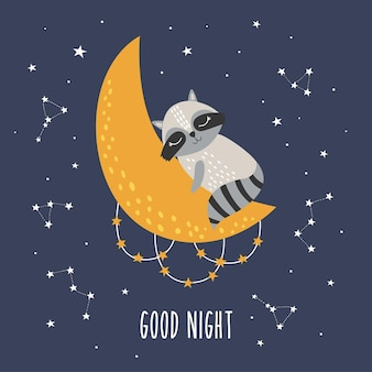 Guaxinim fofo dormindo com lua e estrelas