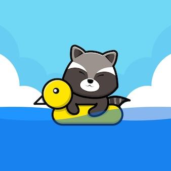 Guaxinim fofo nadando com ilustração de anel de natação