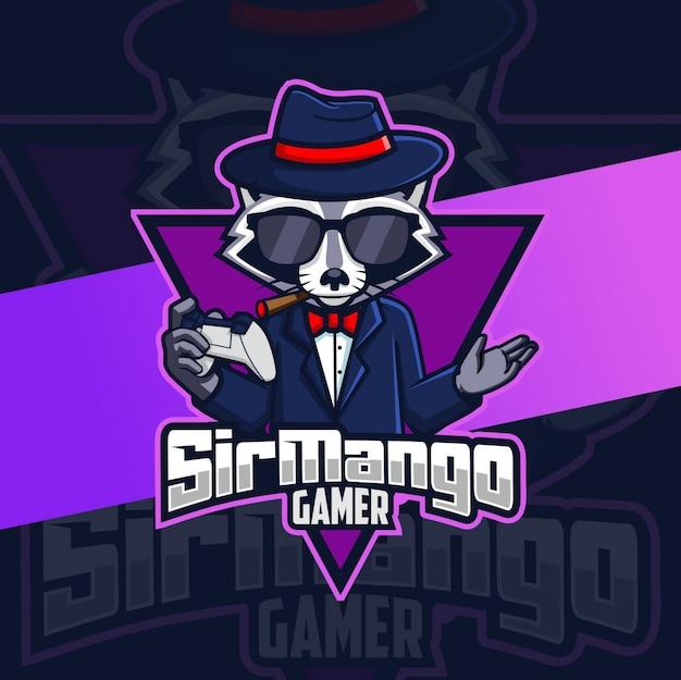 Guaxinim gangster mascote gamer logotipo